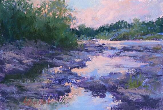 Original peinture paysage pastel peinture coucher de soleil - Paysage peinture facile ...