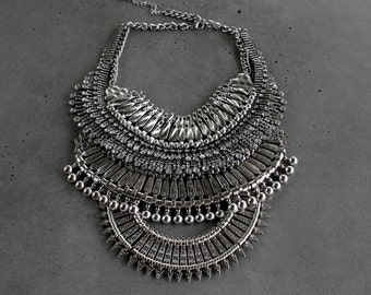 SALE! Statement Necklace - Handcrafted: Brooklyn. Silver crystal layered stacked rhinestone ethnic bohemian necklace