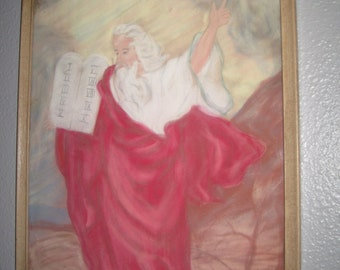 Mid Century Moses & The Ten Commandments Chalk Art-60s Original Signed Art Of Moses-Inspirational Biblical Framed Art-Rustic Religious Gift
