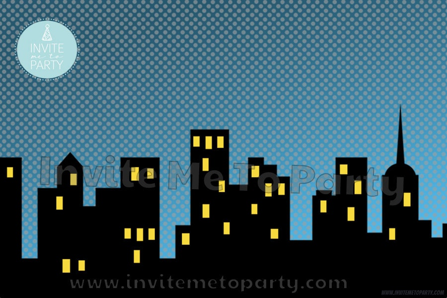 Superhero City Scene Printable Backdrop Printable Photo Booth