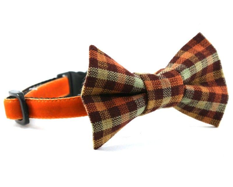 bow tie cat collar brown orange plaid orange by