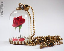 Beauty and the Beast necklace - Rose in a glass globe - Rose in terrarium - handmade