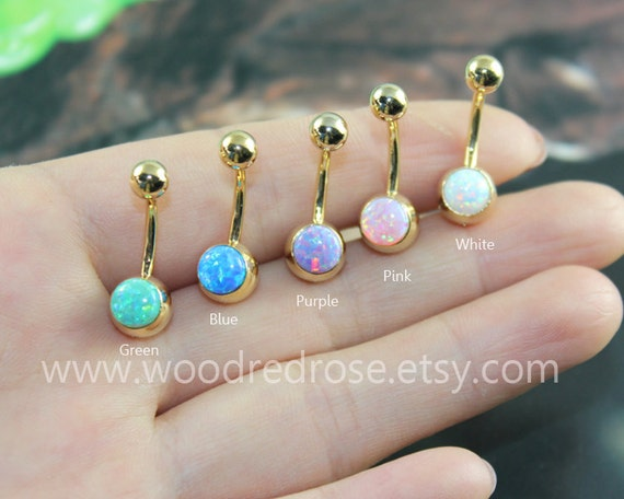Five Colors Fire Opal Belly Button Ring Opal Navel