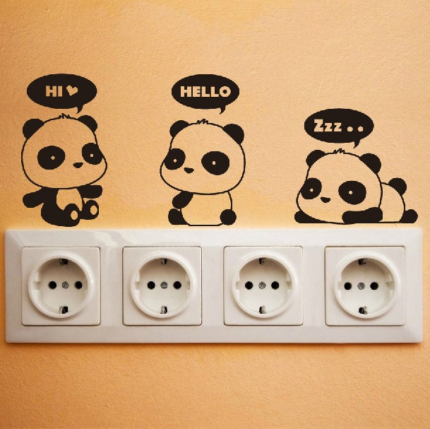 cute panda wall decal diy wall sticker wall decor vinyl stickers wall design window decals door - Wall Design Decals