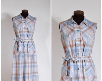 Vintage 60s Nancy Frocks Blue and Brown Plaid Cotton Shift Dress S/M