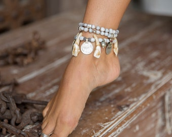 """handmade 'AWAKEN YOUR GODDESS"""" Anklet, 3 piece set, antique Silver Coins, bells and Beads. Tribal jewellery, Anklet"""