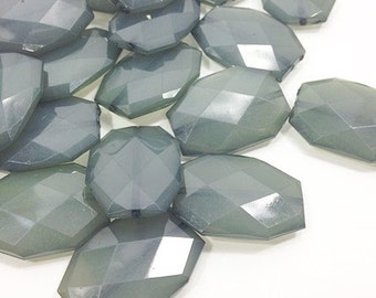 35x24mm Large faceted smoky gray acrylic beads - chunky jewels for craft supplies