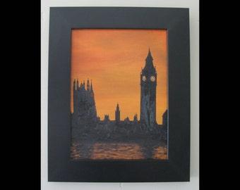 Sunset in London Oil Painting, England, Framed
