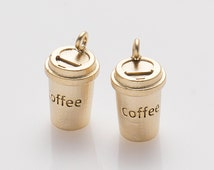 Coffee Cup Pendant, Coffee Charm, Jewelry Supplies, Brass Charm, Matte Gold Plated over Brass- 2 Pieces-[AP0056]-MG