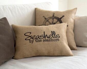 nautical pillow, pillow cover, decorative pillow, nautical pillows, beach decor, nautical decor, beach pillow, pillow, burlap pillow cover