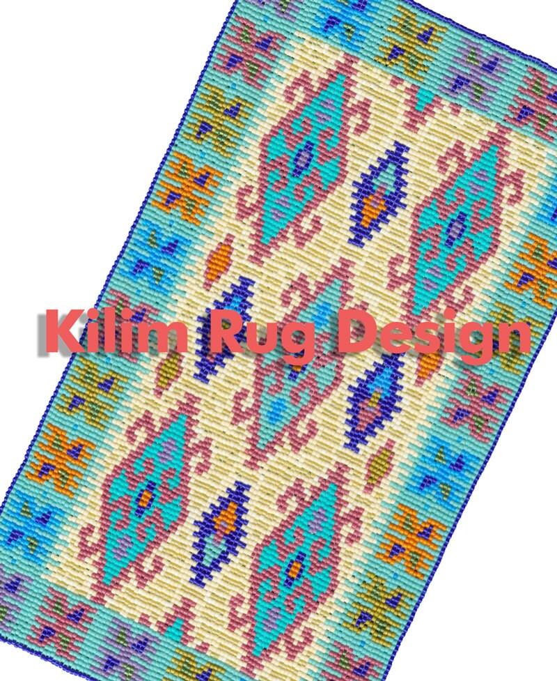 Kilim Oriental Rug Bead Weaving Instant PDF Download Pattern