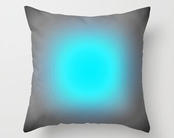 Pillow Cover, Turquoise Blue & Gray Focus Throw Pillow, Blue Pillow, Blue Toss Pillow, Kids Decor, Bedroom Decor, Living Room, Home Decor