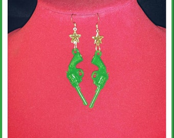 Bright Green Star and Gun Dangle Earrings
