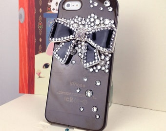 iPhone Cover Stunning Rhinestone Studded Studs Oversized Bow Case Cover for iPhone