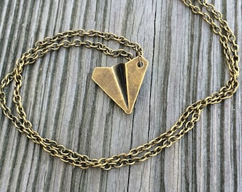 3D Bronze Paper Airplane Necklace