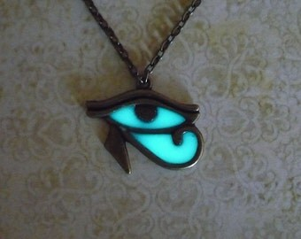 Glow in the Dark Eye of Horus Necklace Egyptian Jewelry Spiritual Symbol Pendant Egyptian Necklace Glowing Necklace