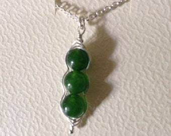 Peas in a pod sterling silver necklace