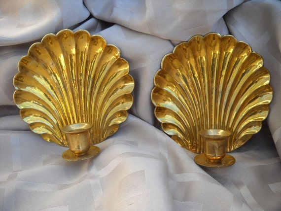 Brass Shell Wall Lights : Brass Shell Wall Sconce Candle Holders Peacock by Hometreasury