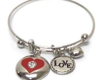 Heart charm dangle bangle bracelet