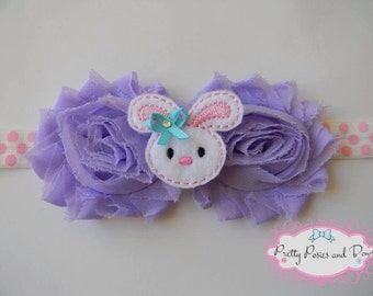 Easter Headband, Bunny Headband, Felt Headband, Purple Flower Headband, Spring Headband, Easter Hair Bow, Bunny Hair Bow