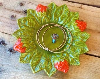 Vintage 1970s Ceramic Strawberry Dish, Strawberry Dish, Retro Strawberry Decor, Strawberry Kitchen, Strawberry Dish Strawberry Candleholder