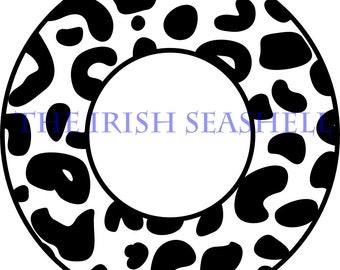 Cheetah Leopard Jaguar Circle Monogram Frame SVG DXF Design