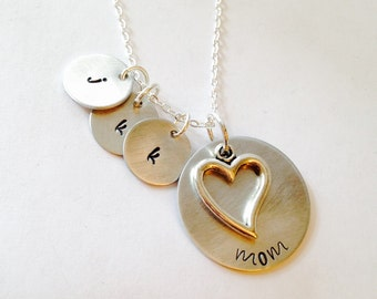 Hand Stamped Personalized Aluminum Mom Necklace, Grandmother Necklace, Mom Gift