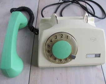 White green rotary telephone - Vintage desk phone -  Home decor - Made in Poland 1972.