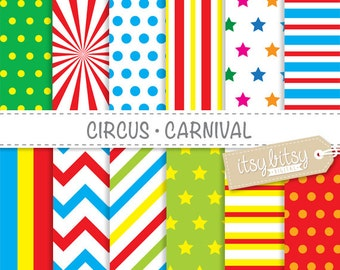 Circus - Carnival digital paper pack with circus and carnival patterns for scrapbooking, invitations, cards etc