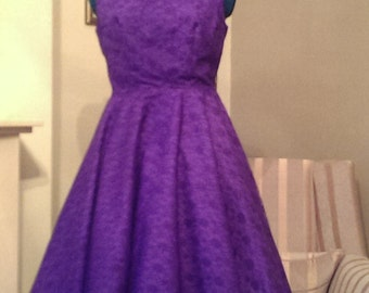 Purple Lace Vintage Style Dress UK 12