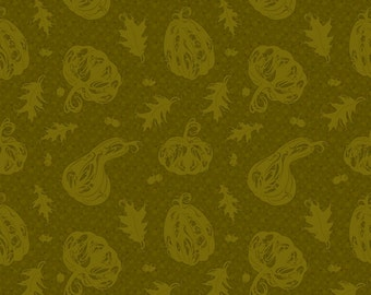 Blessings II - Green Pumpkins Fabric