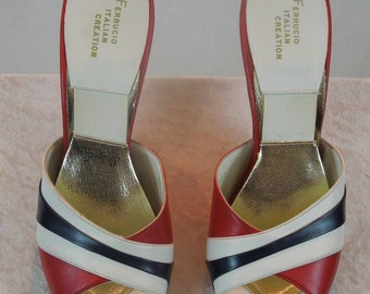 SALE!!! Vintage FERRUCIO Italian Creation. 50'S Spring-o-Lators. Open Toe Pump. Red, White, and Blue. Size 8 1/2 M.