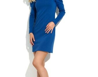Cobalt Blue dress women trendy dress Royal blue dress autumn dress evening dress stylish dress prom dress mini dress  women office dress