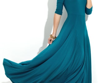Maxi  Jersey dress Turquoise Maxi dress for women Wedding maxi dress Dress flared Airy maxi dress Treq
