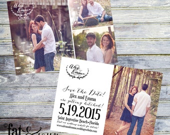 Save The Date, Wedding Save The Date, Rustic Save The Date, Printable Save The Date, Photo Save The Date, Collage Save The Date Card