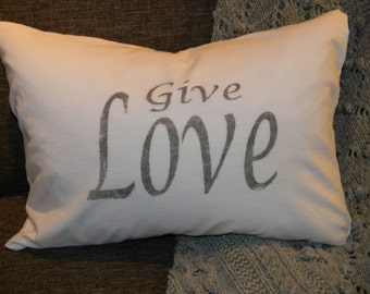 Cotton Pillow Cover- Give Love