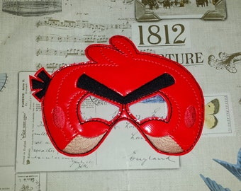 Red angry bird inspired mask ITH Project In the Hoop Embroidery Design Costume, Cosplay, Fancy dress, Masquerade, Photo booth, Prop.