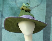 Witch Hat - Green Witch Hat - Large Witch Hat - Pointed Witch Hat - Felt Witch Hat