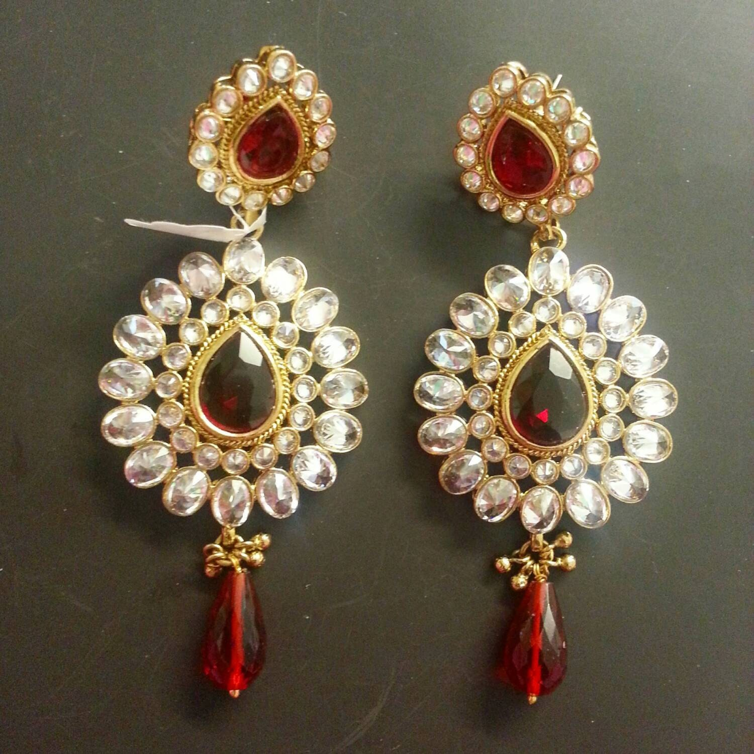 kundan earrings indian jewelry indian by mayilcreations on