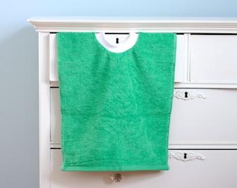Green Terry Cloth Towel Bib, Pullover Toddler Bib, Baby Bib, Toddler Craft Smock