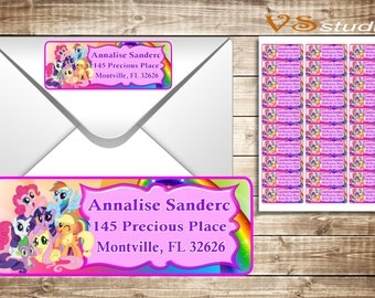 My Little Pony return Address Labels - Personalized-Printable-PDF