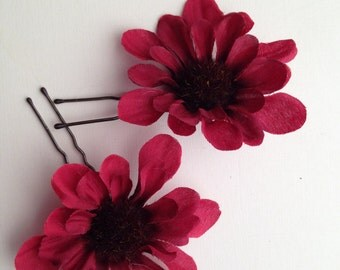 SALE!!Burgundy Flower Hair Pins for Wedding, Special Occasion, or a little bit of fun for everyday Set of 2