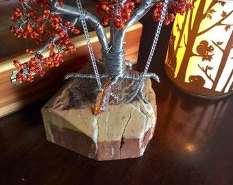 Single Champagne Quartz Handmade on Silver Chain
