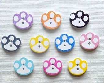 10 Wooden Paw Buttons - #SB-00022