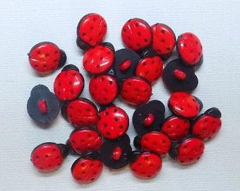 10 Cute Ladybug Buttons - #PB-00004