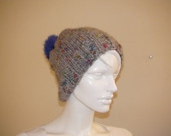 Winter Hat. Grey Soft  Hat with Blue Pon Pon.