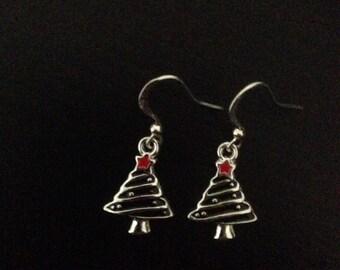 Tiny black christmas tree earrings
