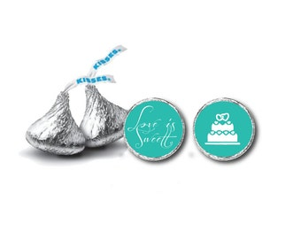 Wedding Hershey Kiss Label - Candy Sticker Label - Aqua Hershey kiss Sticker Label - Hershey Kiss Label  PDF -INSTANT DOWNLOAD