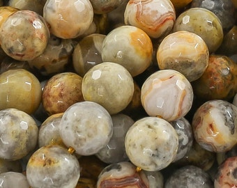 Mexican Crazy Laced Agate Faceted Round 4-14mm