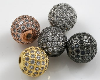 Wholesale Cubic Zirconia Rhinestone Pave ROUND 5 colors ALL SiZES: 6mm, 8mm, 10mm, 12mm, 14mm. C.Z. CZ